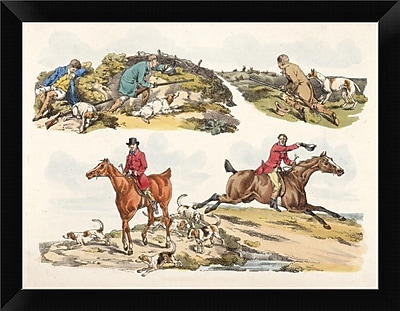 East Urban Home 'Hare Hunting 1817' Framed Oil Painting Print; 9'' H x 12'' W