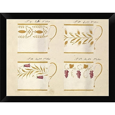 East Urban Home 'Quatre Tasses Modeles Ca. 1800-1820' Framed Graphic Art Print; 9'' H x 12'' W