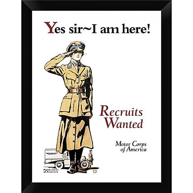 East Urban Home 'Recruits Wanted: Motor Corps of America' Framed Graphic Art Print; 12'' H x 9'' W