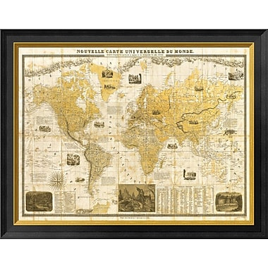East Urban Home 'Gilded 1859 Map of the World' Framed Graphic Art Print; 14'' H x 18'' W