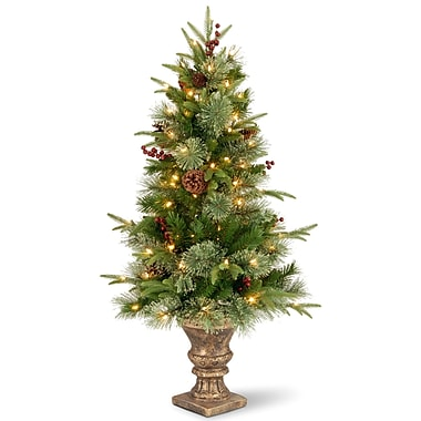 The Holiday Aisle 4' Green Artificial Christmas Tree w/ 100 Clear Lights w/ Pot