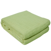 Highland Dunes Cassan Thermal 100pct Cotton Blanket; Green