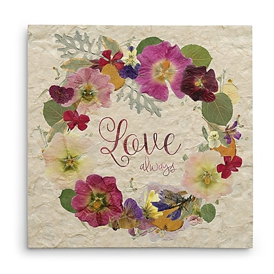 August Grove 'Pressed Wreath Love' Graphic Art Print on Wrapped Canvas; 24'' H x 24'' W