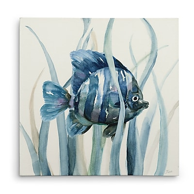 Bay Isle Home 'Fish in Seagrass I' Oil Painting Print on Wrapped Canvas; 16'' H x 16'' W