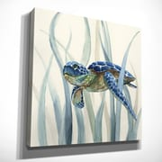 Bay Isle Home 'Turtle in Seagrass II' Oil Painting Print on Wrapped Canvas; 40'' H x 40'' W