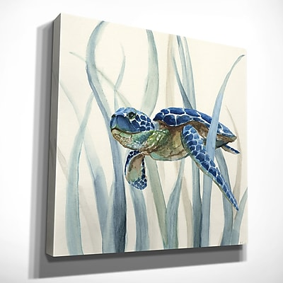 Bay Isle Home 'Turtle in Seagrass II' Oil Painting Print on Wrapped Canvas; 24'' H x 24'' W