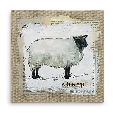 Gracie Oaks 'Burlap Sheep' Graphic Art Print on Wrapped Canvas; 16'' H x 16'' W