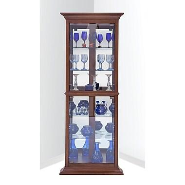 Darby Home Co Gladstone Corner Curio Cabinet; Cherry