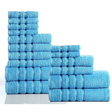 Darby Home Co 100pct Combed Cotton 550 GSM 16 Piece Towel Set; Sea Blue