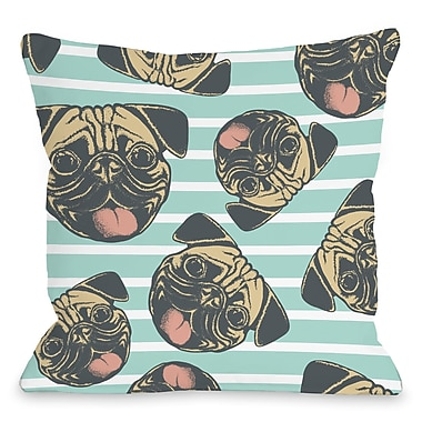 East Urban Home Square Striped Pug Throw Pillow; 18'' H x 18'' W