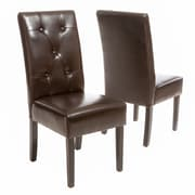 Latitude Run Corinne Upholstered Dining Chair (Set of 2); Chocolate Brown