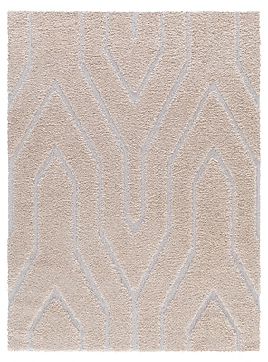 Ivy Bronx Briony Platinum Shag Beige Area Rug; 8' x 10'2''