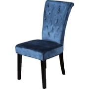Home Loft Concepts Charlotte Upholstered Dining Chair (Set of 2); Crushed Velvet Teal
