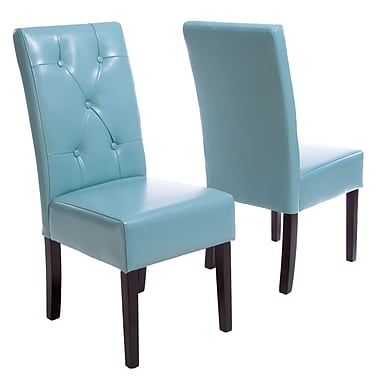 Latitude Run Corinne Upholstered Dining Chair (Set of 2); Teal Blue