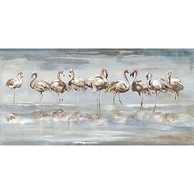 Bay Isle Home 'Flamingo Reflections Soft' Print on Wrapped Canvas; 24'' H x 48'' W