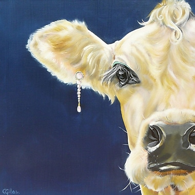 Ebern Designs 'Cow Diamonds and Pearls' Print on Wrapped Canvas; 24'' H x 24'' W