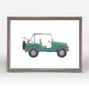 Ebern Designs 'Green Jeep' Framed Acrylic Painting Print on Canvas