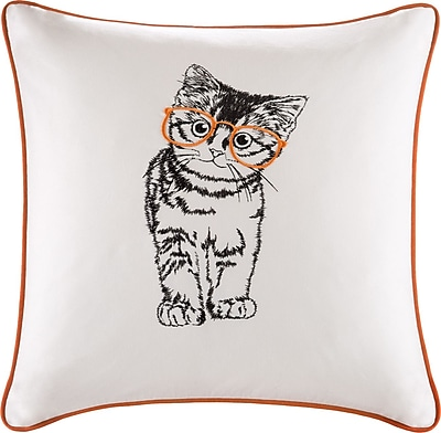 Ivy Bronx Lorrine Cat Embroidered Cotton Throw Pillow