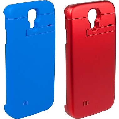 PurTek Battery Sleeve Cell Phone Case for Galaxy S4, Red/Blue, 2/Pack (SAMSGS4BTB2PK)