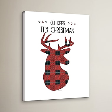 Loon Peak Oh Deer It's Christmas Textual Art on Wrapped Canvas; 24'' H x 18'' W x 2'' D