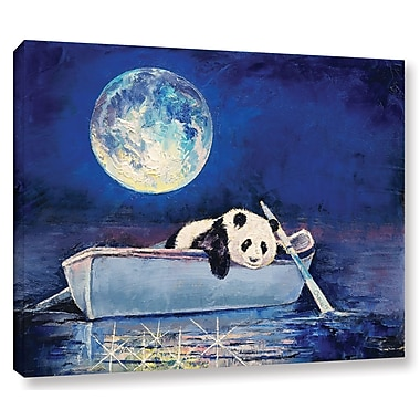 Ivy Bronx Panda Blue Moon Painting Print on Wrapped Canvas; 18'' H x 24'' W x 2'' D