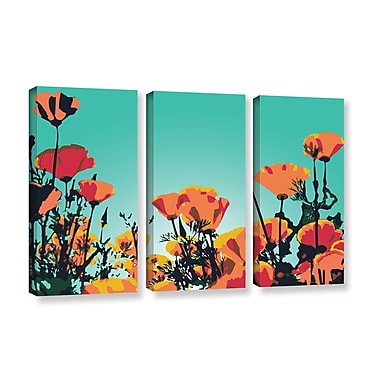 Latitude Run Turquoise Sky 3 Piece Graphic Art on Wrapped Canvas Set; 24'' H x 36'' W x 2'' D