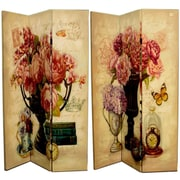 Ophelia & Co. Lowville 71'' x 47'' Double Sided Flowers in A Vase 3 Panel Room Divider