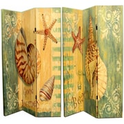 Highland Dunes Caseyville 71'' x 47'' Double Sided Seashells and Starfish 3 Panel Room Divider