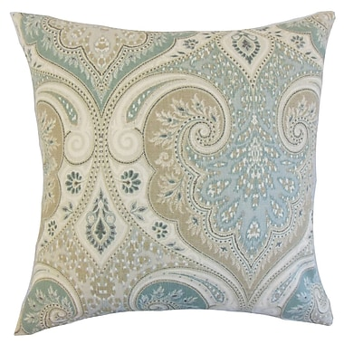 Darby Home Co Chandley Damask Throw Pillow Cover; Seafoam