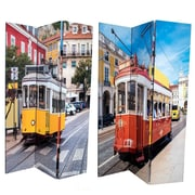 East Urban Home 71'' x 47'' Double Sided Tram on Streets 3 Panel Room Divider