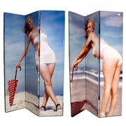 East Urban Home 71'' x 47'' Double Sided Manilyn Monroe By The Beach 3 Panel Room Divider