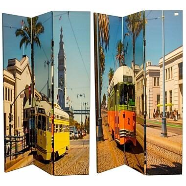 Latitude Run McCartney 71'' x 47'' Double Sided Vintage Trams 3 Panel Room Divider