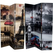 McCartney 71'' x 47'' Double Sided Contemporary London and Paris Streets 3 Panel Room Divider