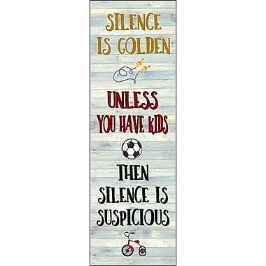 August Grove Silence is Golden Textual Art on Wood