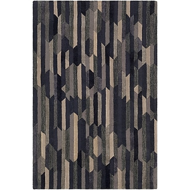 Ivy Bronx Borel Hand-Tufted Navy/Tan Area Rug; 2' x 3'
