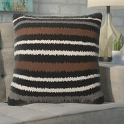 Ivy Bronx Aella Modern Linen Vertical Stripe Throw Pillow; Black/Brown