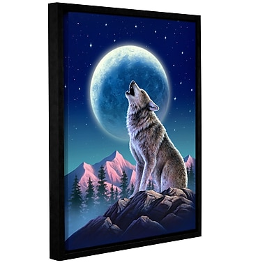 Ivy Bronx Wolf Moon Framed Graphic Art on Wrapped Canvas; 18'' H x 14'' W