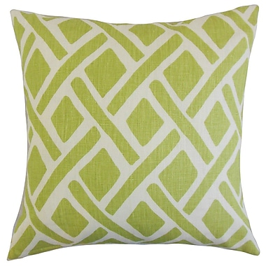 Latitude Run Buono Geometric Linen Throw Pillow Cover; New Leaf