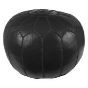 Mistana Carolos Pouf Leather Ottoman; Black