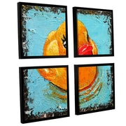 Ivy Bronx Rubber Duck 4 Piece Framed Painting Print on Canvas Set; 36'' H x 36'' W x 2'' D
