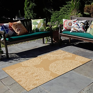 Mistana Devondra Crochet Beige/Yellow Indoor/Outdoor Area Rug; 3'3'' x 4'11''