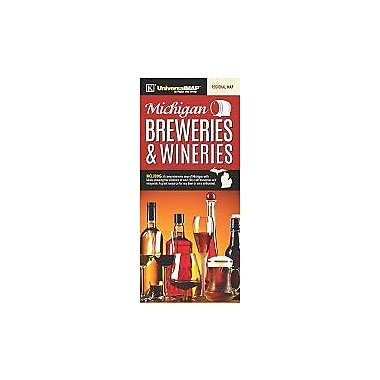 Universal Map Michigan Breweries and Wineries Map, 40'' x 28''