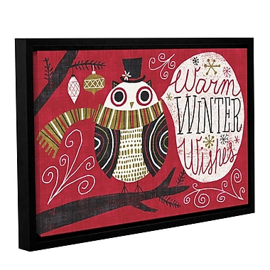 Ivy Bronx Quirky Christmas Owl Framed Painting Print on Wrapped Canvas; 32'' H x 48'' W x 2'' D