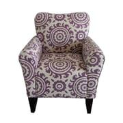 Mistana Deverell Printing Armchair; Purple / White