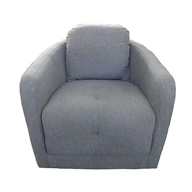 Ivy Bronx Aveza Upsilon Swivel Barrel Chair; Charcoal Ash