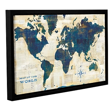 Ivy Bronx World Map Collage Framed Painting Print on Wrapped Canvas; 32'' H x 48'' W x 2'' D