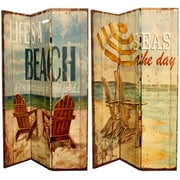Highland Dunes Caseyville 71'' x 47'' Double Sided Witty Beach Quotes 3 Panel Room Divider