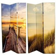 Highland Dunes Caseyville 71'' x 47'' Double Sided Coast Scenery 3 Panel Room Divider