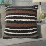 Ivy Bronx Aella Linen Vertical Stripe Throw Pillow; Balck/Brown