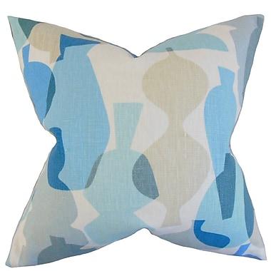 Latitude Run Burdett Geometric Linen Throw Pillow Cover; Surf
